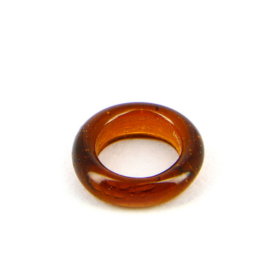 Anneau en verre brillant transparent marron - 15 mm
