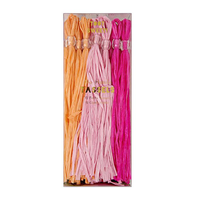 Pompons - Papier rose et orange x 12 pcs