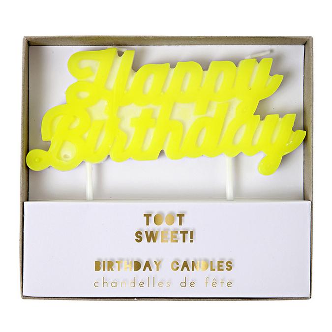 Bougie Happy Birthday jaune