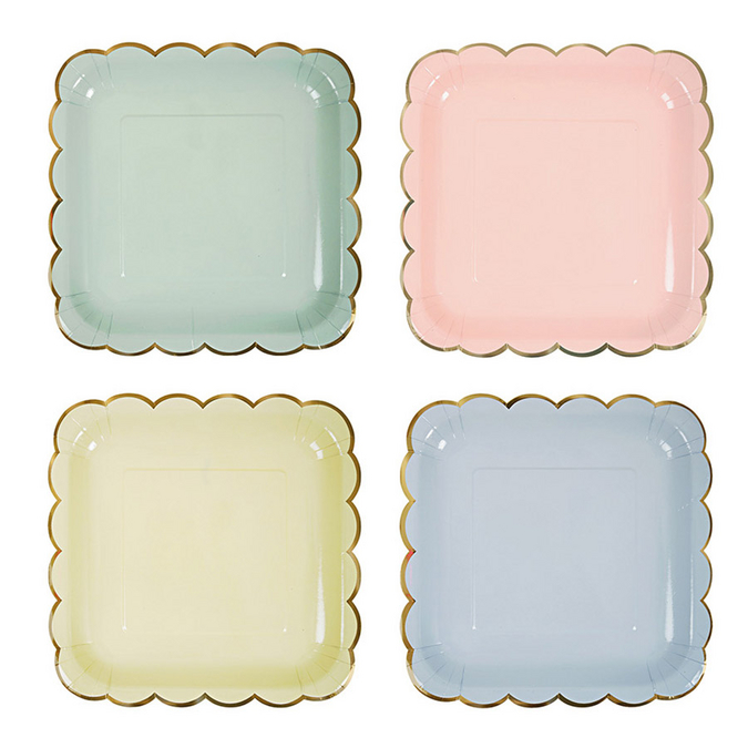 Assiettes en carton pastel grand format x 8 pcs