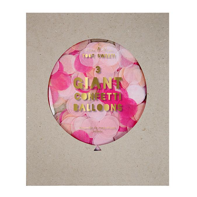 Kit ballon confettis géant rose x 3 pcs