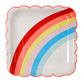 Assiettes en carton arc-en-ciel grand format x 12 pcs