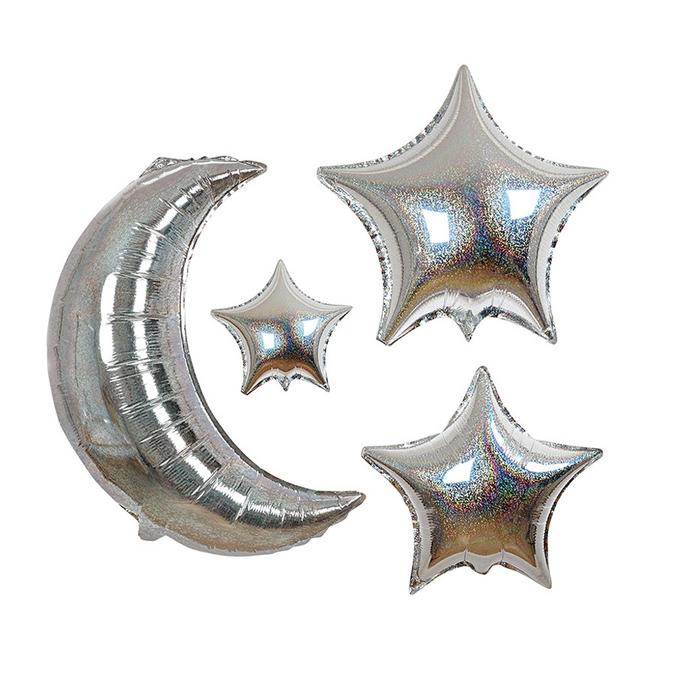 Ballons lune et étoiles x 6 pcs