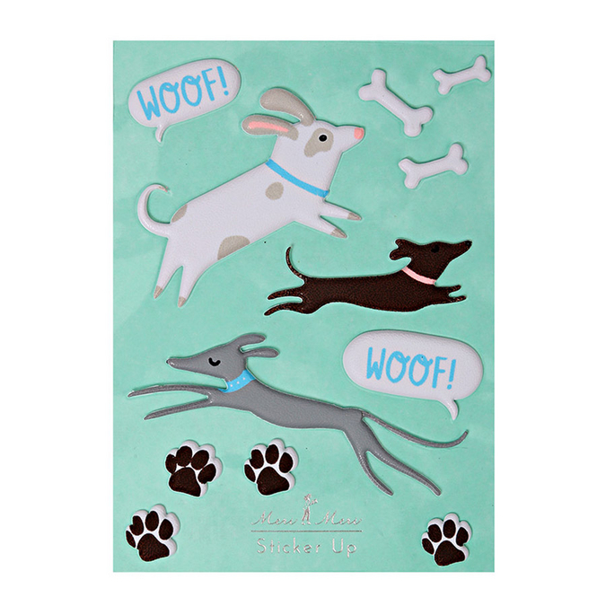 Stickers relief chiens x 12 pcs