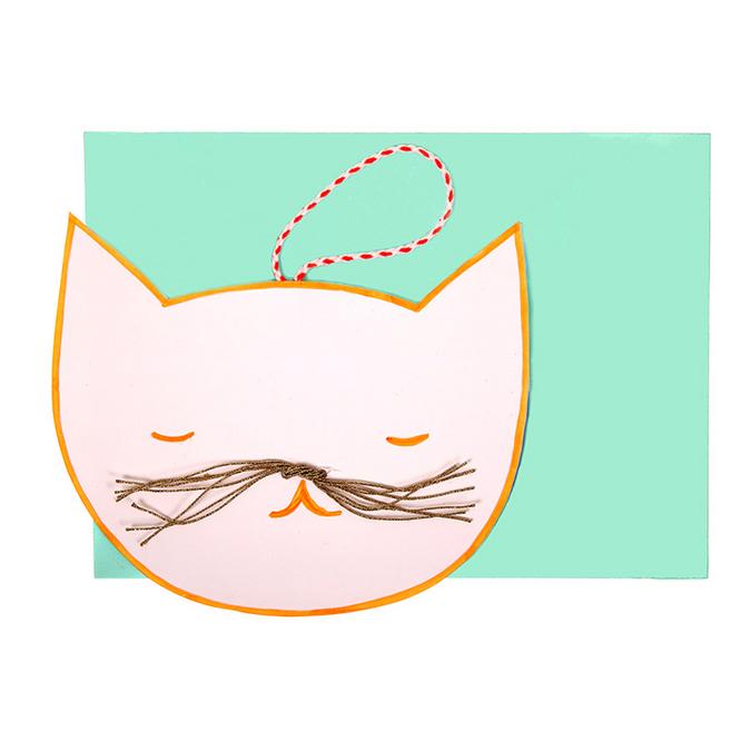 Carte d'invitation + enveloppe Tête de chat