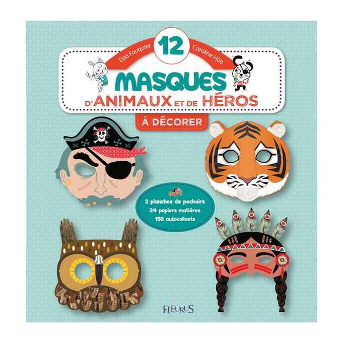 Livre 12 masques d'animaux et de héros à décorer