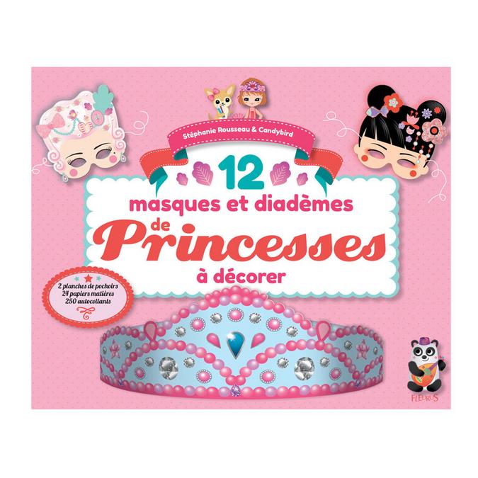 Livre 12 masques et diadèmes de Princesses à décorer