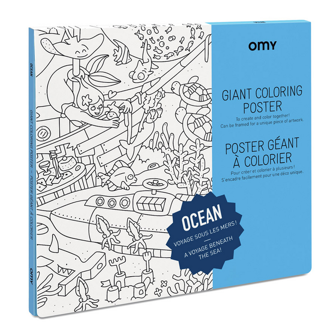 Poster géant à colorier 100 x 70 cm - Thème Océan