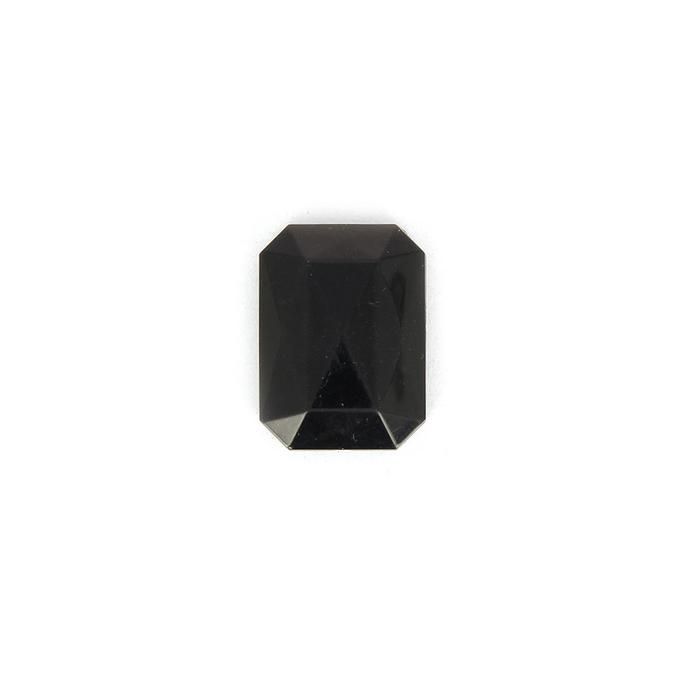 Perle en résine rectangulaire à facettes noire - 28 mm