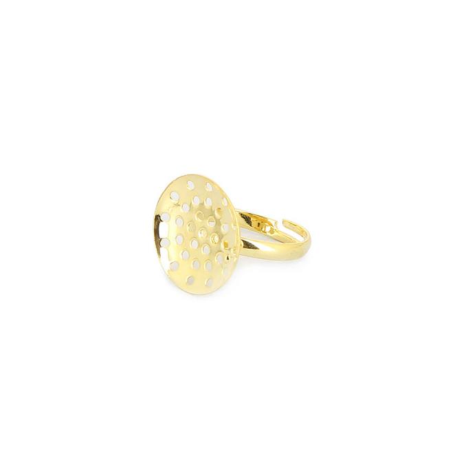 Bague métal réglable à plateau incurvé pour perle dorée - 18 mm
