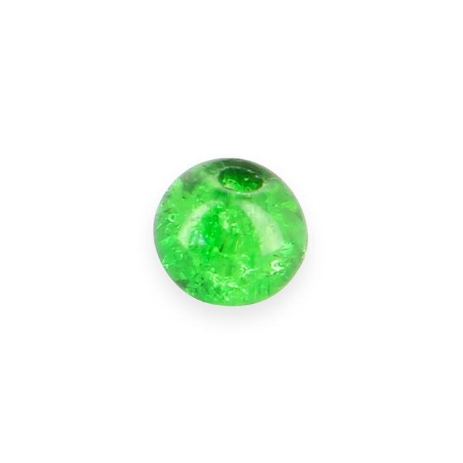 Perle ronde synthétique effet brisé verte - 8 mm