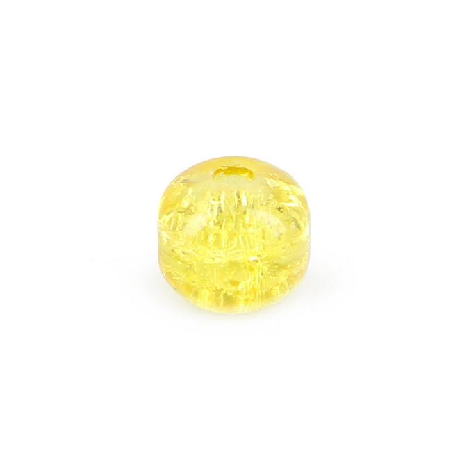 Perle ronde synthétique effet brisé jaune - 8 mm