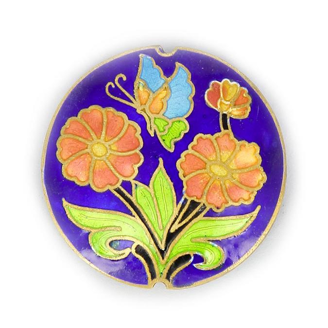 Perle peinte motif fleuri et papillon fond bleu - 38 mm