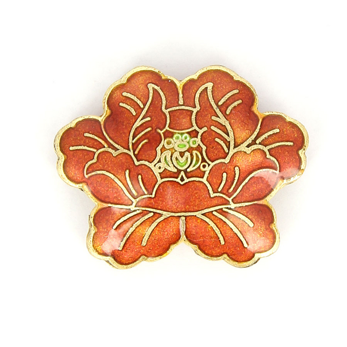 Perle en métal fleur orange rouge - 30 x 37 mm