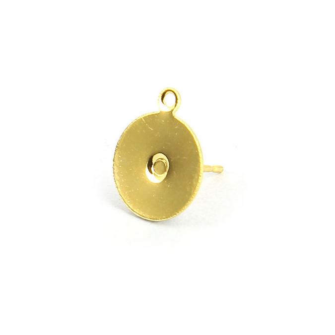 Boucles d'oreille tige plateau métal rond anneau or brillant - 10 mm