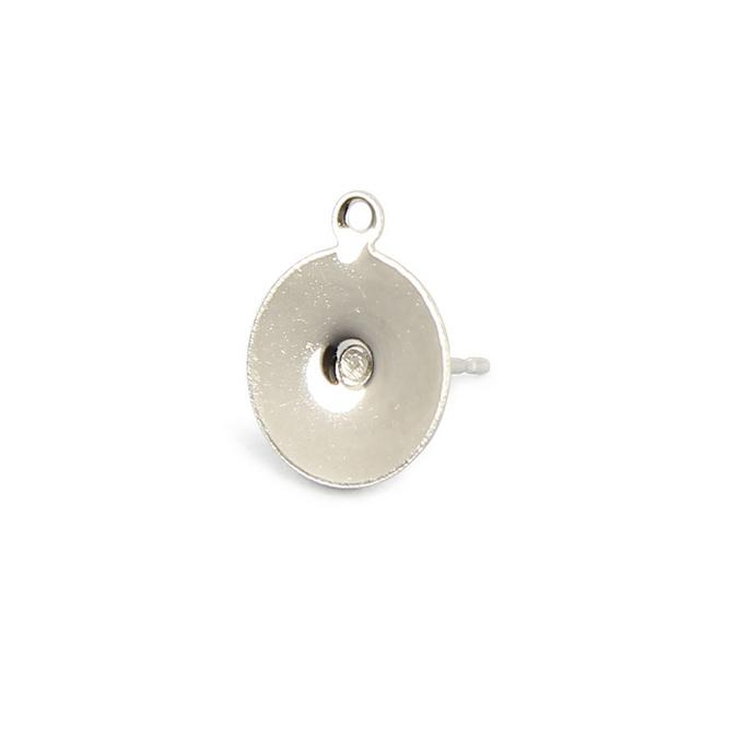 Boucles d'oreille tige plateau métal rond anneau nickel - 10 mm