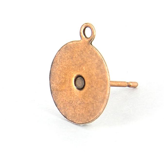 Boucles d'oreille tige plateau métal rond anneau cuivre vieilli - 10 mm