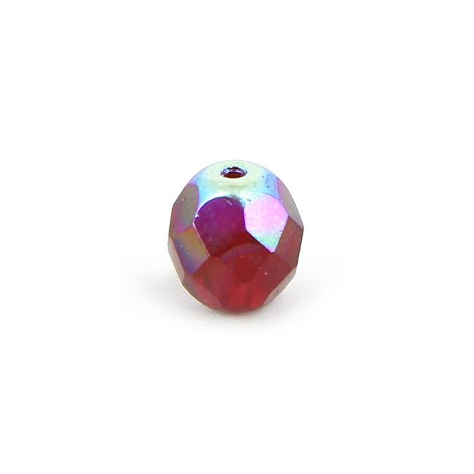 Mélange perles ovales facettes en verre de Bohême rouges et violet - 10 mm