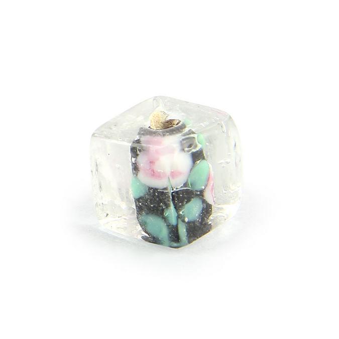 Perle cube en verre transparent centre noir fleuri - 11 mm
