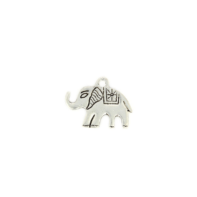 Perle breloque en métal éléphant trompe levée argent - 3,1 x 4 mm