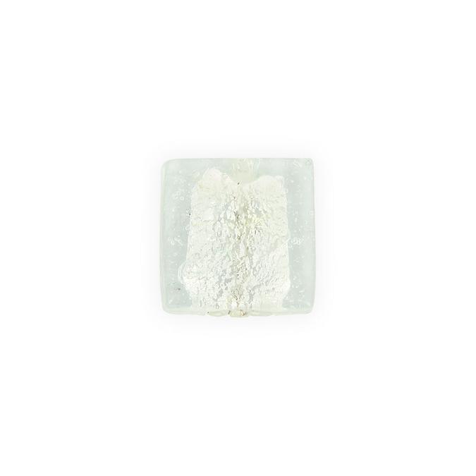 Perle en verre carrée transparente intérieur argent - or - +27,5 x 27,5 mm