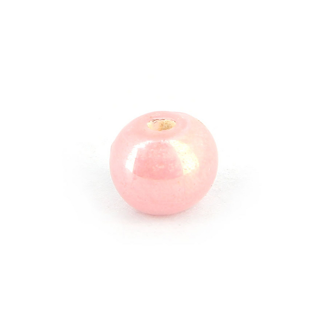 Perle en céramique ronde rose bonbon brillant - 9 mm