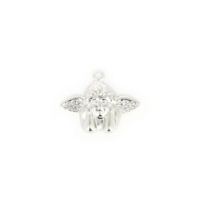 Breloque en métal fin ange accoudé argent brillant - 17,5 mm