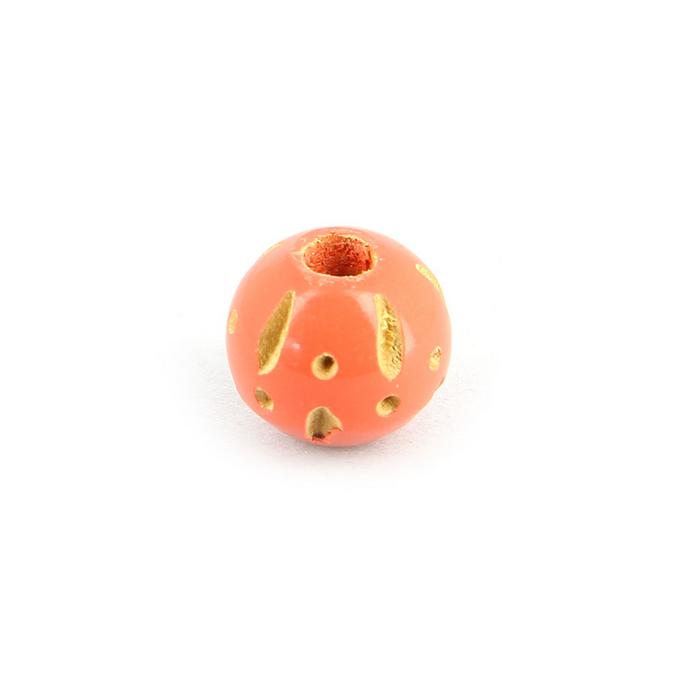 Perle ronde bois creusé traits et points rose corail - 11 mm