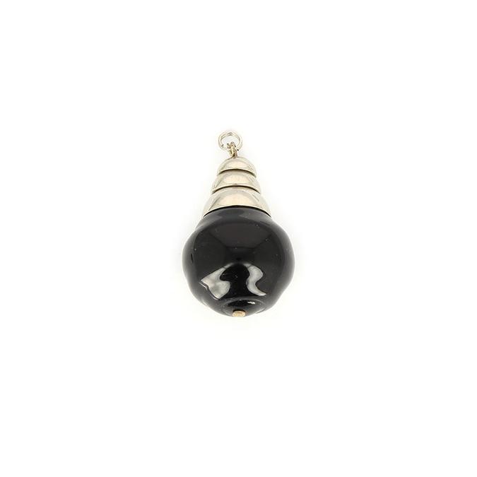 Pendentif embout en métal et perle ronde synthétique noir - 20 x 30 mm