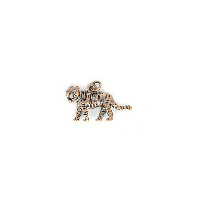 Breloque en métal avec anneau tigré cuivre vieilli - 23 mm