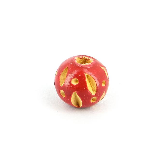 Perle ronde bois creusée points et lignes rouge - 11 mm