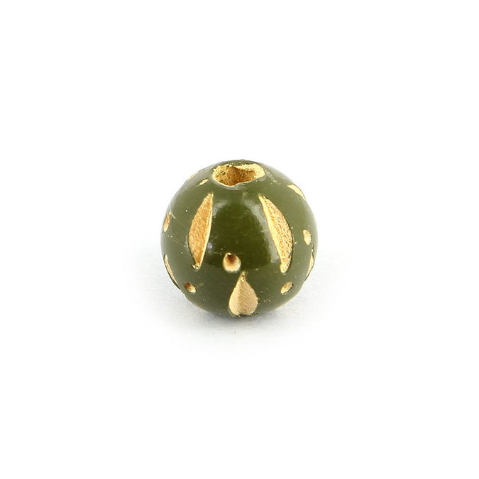 Perle en bois ronde creusée vert kaki - 11 mm