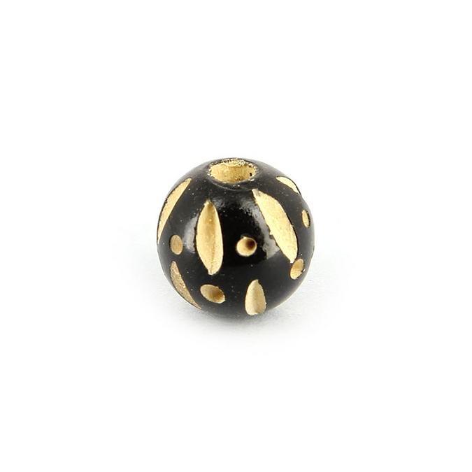 Perle en bois ronde points et traits noir ébène - 11 mm