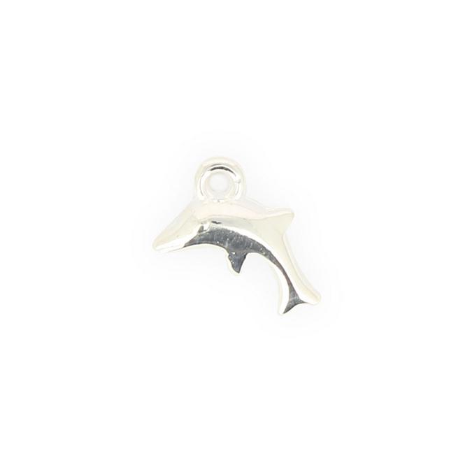 Breloque en résine dauphin argent brillant - 12 x 14,6 mm