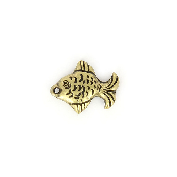 Breloque en résine poisson aplati laiton - 10 mm