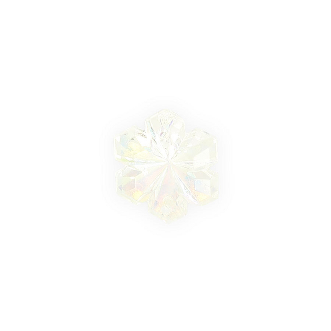 Perle en verre intercalaires fleur 6 pétales blanc iridescent - 8 x 16 mm