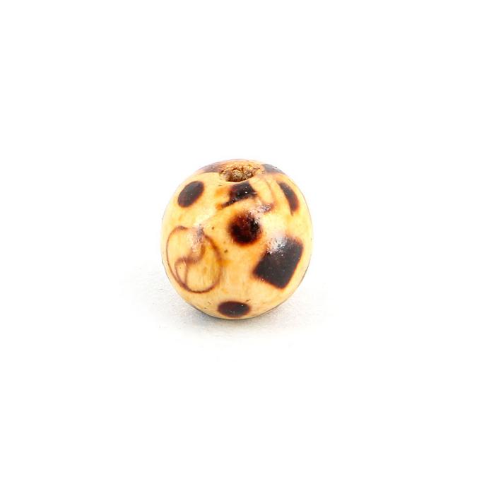 Perle ronde vernie 8 lignes bois naturel - brun - 12 mm