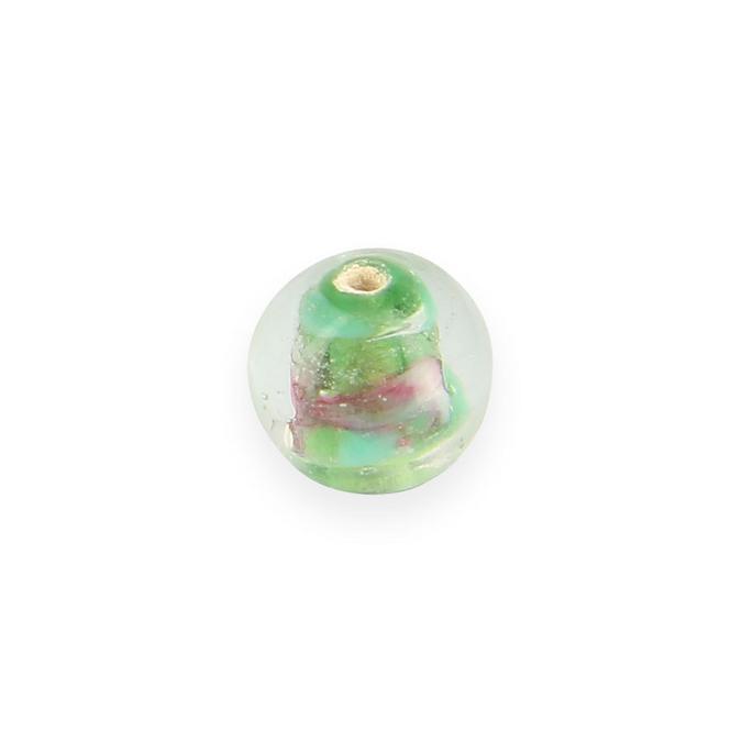 Perle en verre ronde transparent intérieur coloré - 10 mm