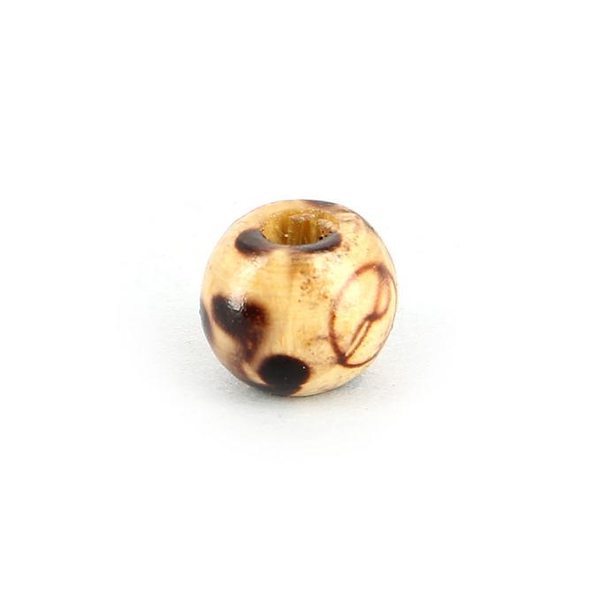 Perle ronde bois naturel vernie motif carré et rond brun - 10,5 mm