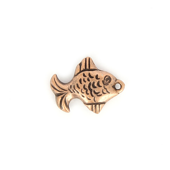 Breloque en résine poisson aplati cuivre - 18,7 x 24 mm