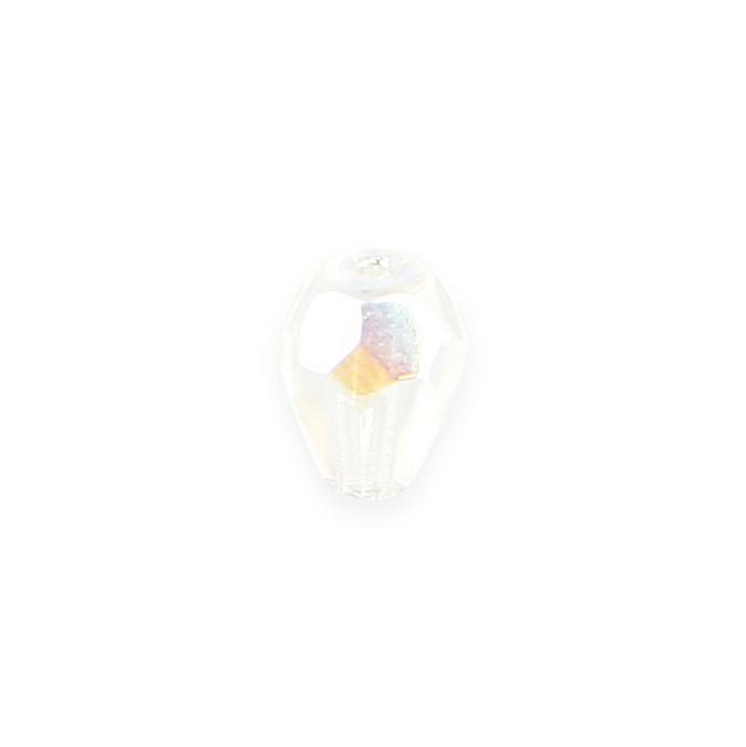 Perle synthétique goutte blanche transparente - 7,5 mm