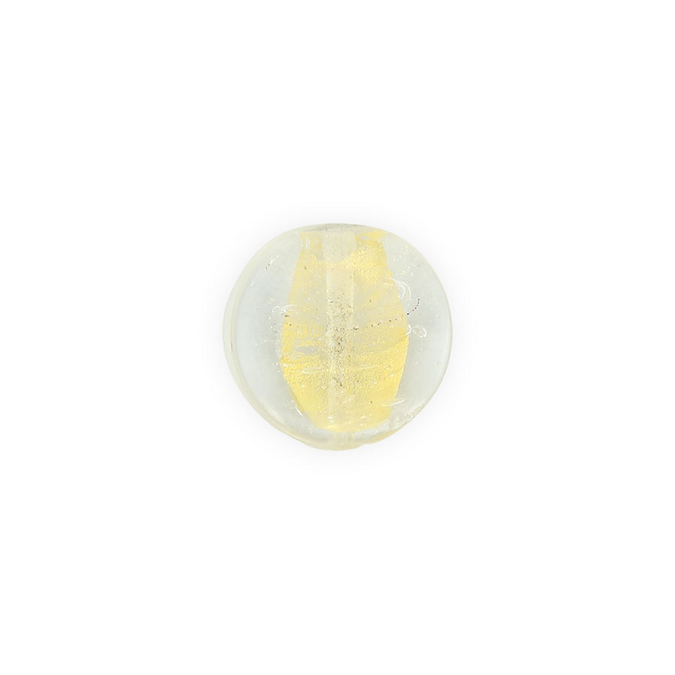 Perle en verre ronde aplatie transparent - or - 23 x 26 mm
