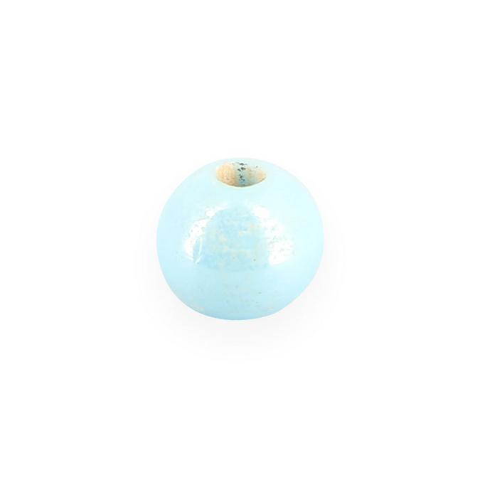 Perle en céramique ronde bleu bébé - 8 mm