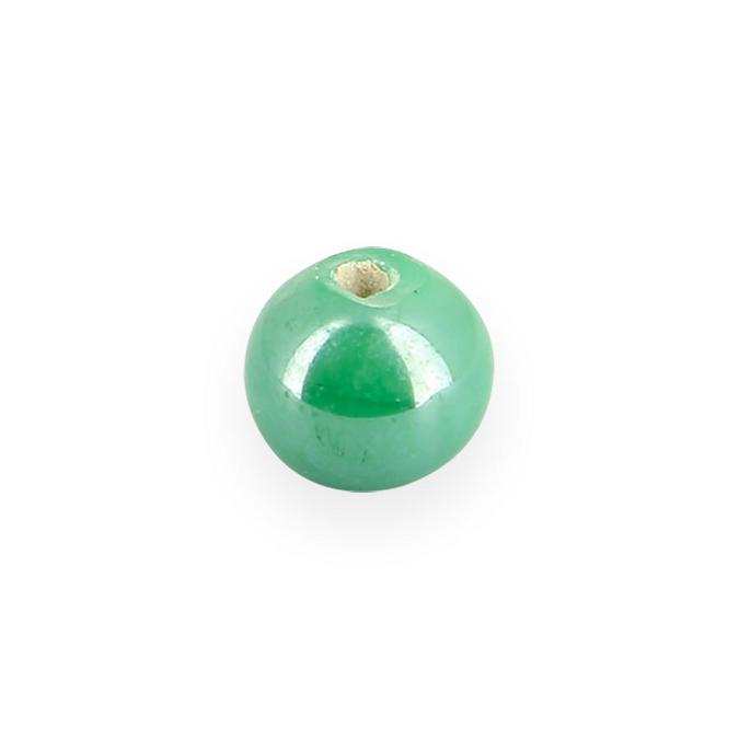 Perle en céramique ronde vert gazon - 8 mm