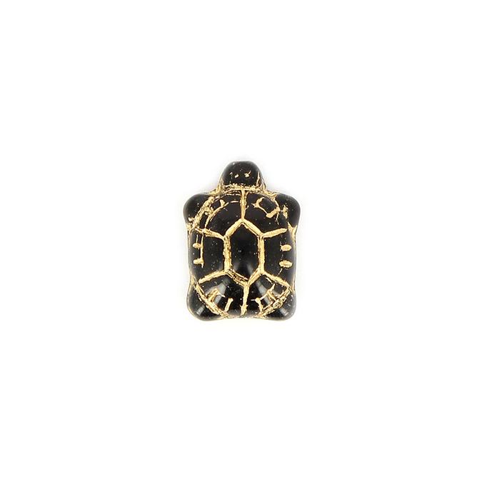 Perle en verre tortue noir - or 13 x 19 mm