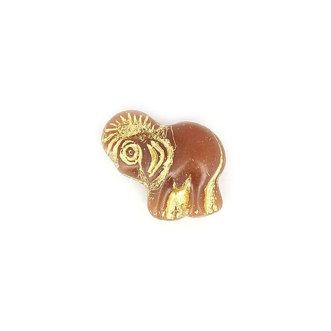 Perle en verre éléphant marron - or - 20,2 x 19 mm