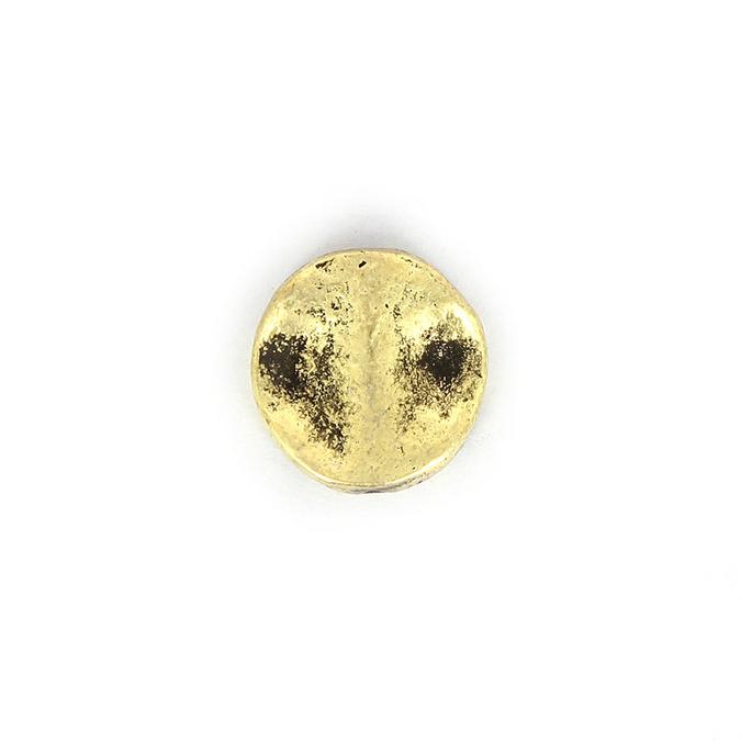 Perle en métal martelé ronde or - 20 mm