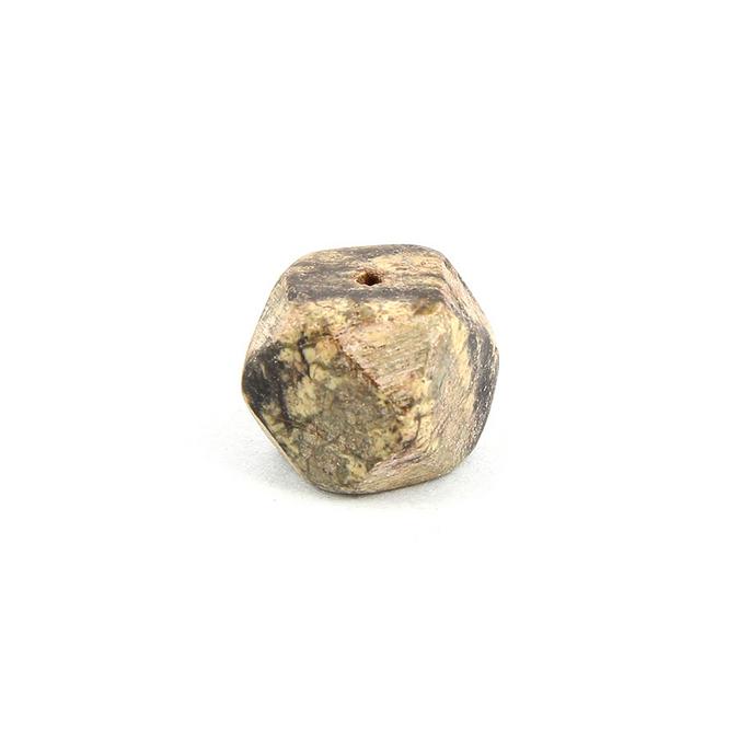 Perle en pierre cube marbré beige - noir 11,5 x 11,5 mm