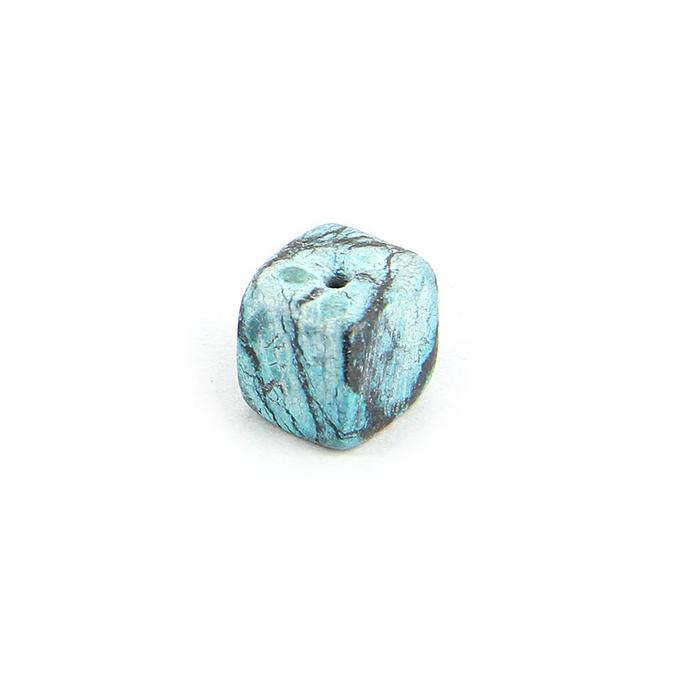 Perle en pierre marbrée cube bleu turquoise - noir 9 mm