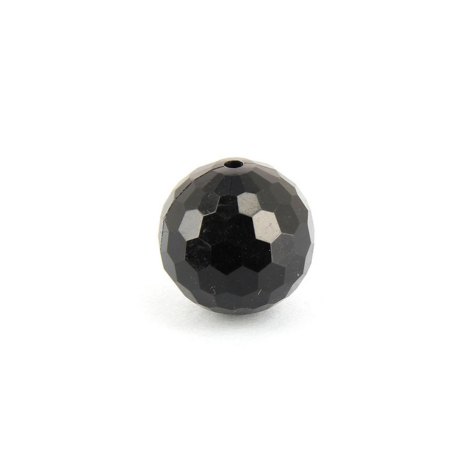 Perle ronde synthétique à facettes noire - 20 mm
